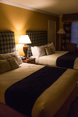 Double bed room inside the Fireside Inn at Moonstone Beach