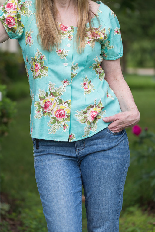 Top sewn from vintage fabric