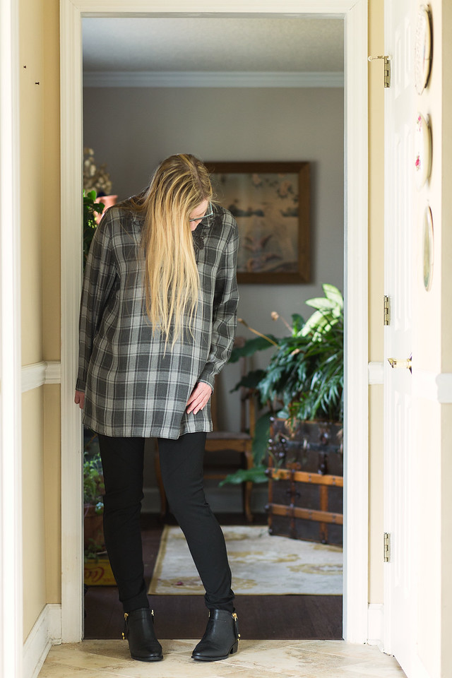 J. Jill Embroidered Plaid Tunic | Grey is the New Black