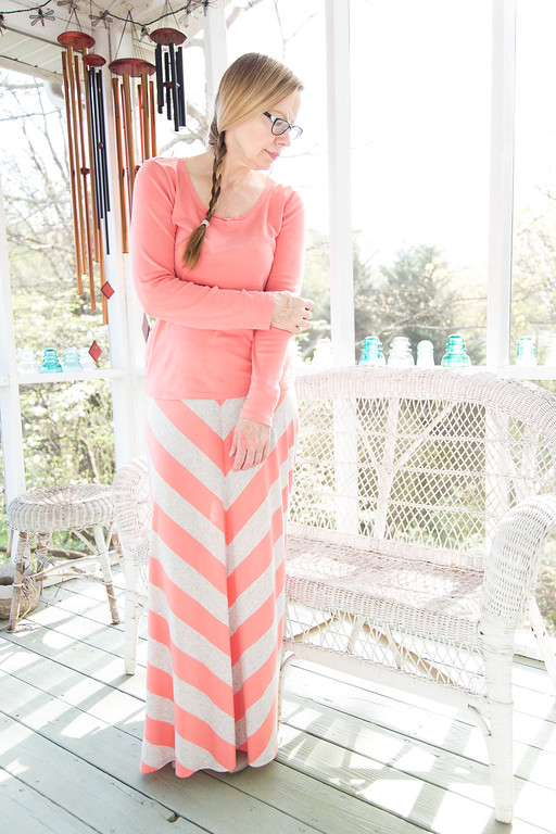 Maxi Skirt with long sleeve t-shirt