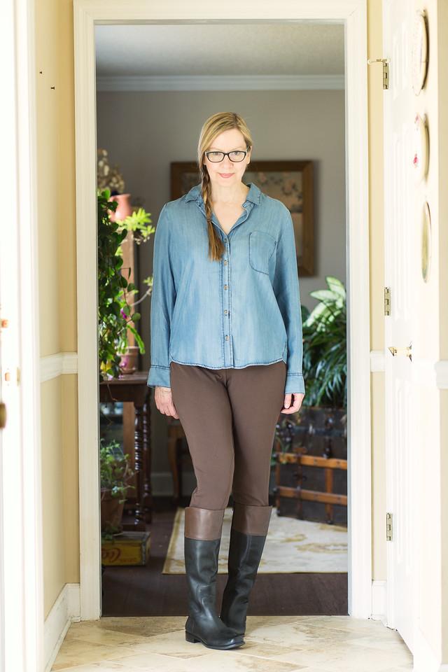 Chambray Shirt, J. Jill Leggings and Nine West Boots