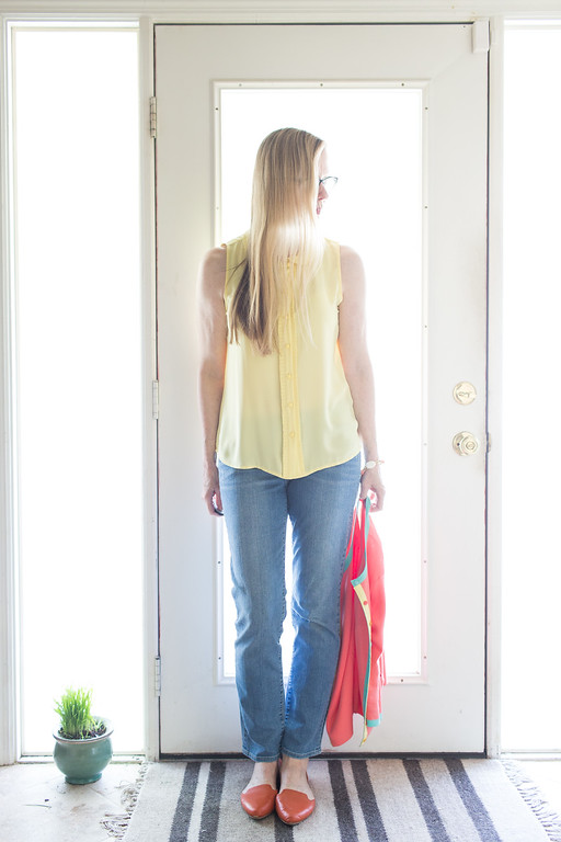 Yellow sleeveless Forever 21 top with bright spring sweater, jeans, and flats. Fashion Over 50.