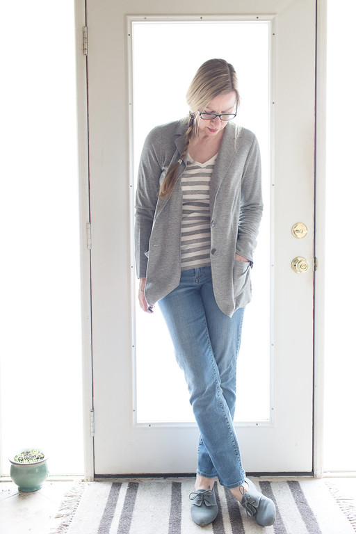 Fashion Transition from Winter to Spring - light gray j. jill jacket