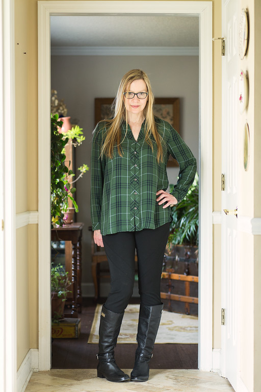 J. Jill Green Plaid Tunic, Vince Camuto Pants, Antonio Milani Boots for Fashion Over 50 at Grey is The New Black.