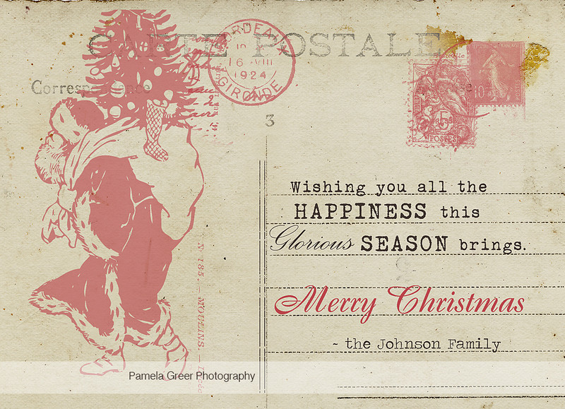 Christmas Card Templates Vintage Postcard Style Pamela Greer - Christmas postcard template