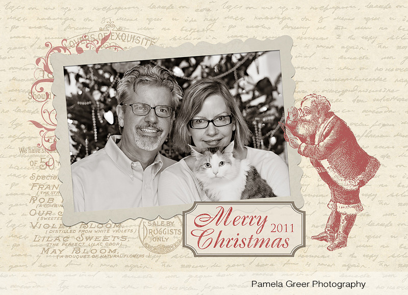 Christmas Card Templates Vintage Postcard Style Pamela Greer - Photography postcard template