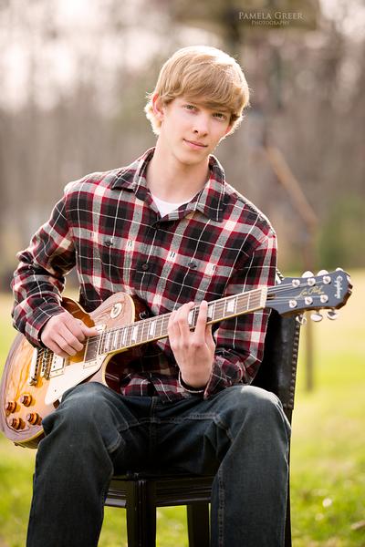 Pamela Greer Photography Senior Boy Playing Guitar