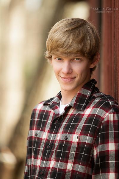 Pamela Greer Photography senior boy in plaid shirt
