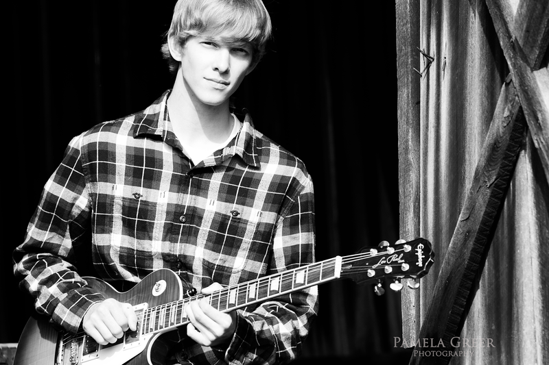 Pamela Greer Photography senior boy with guitar in black and white